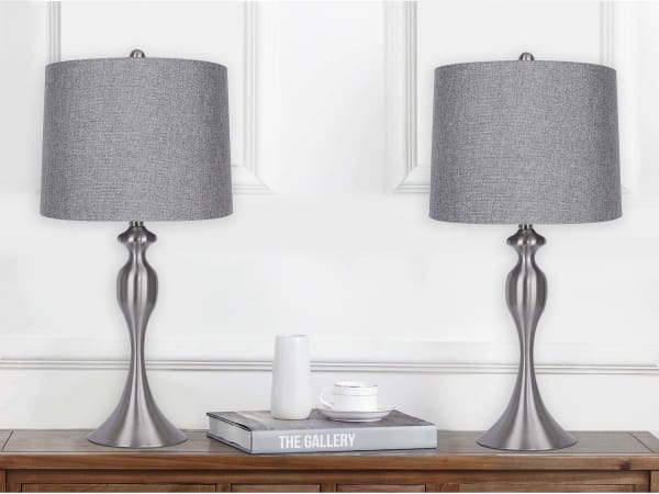 Brushed Nickel Body with Gray Linen Shade Set of 2 Table Lamps