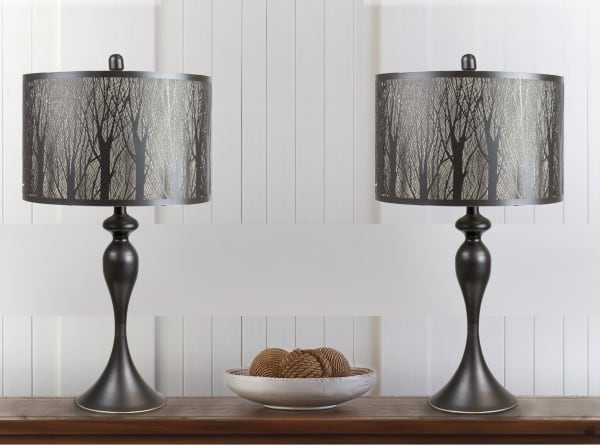 Laser Cut Tree Forest Shade Set Of 2 Table Lamps