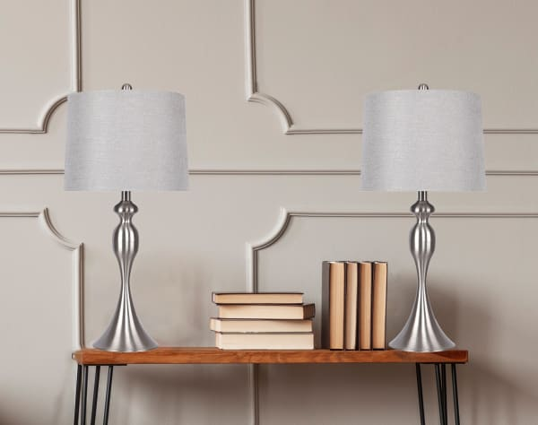 Curvy Brushed Nickel Set of 2 Table Lamps