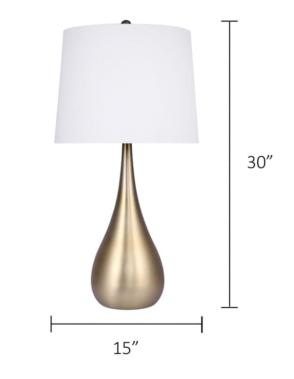 Plated Gold Teardrop Set of 2 Table Lamps