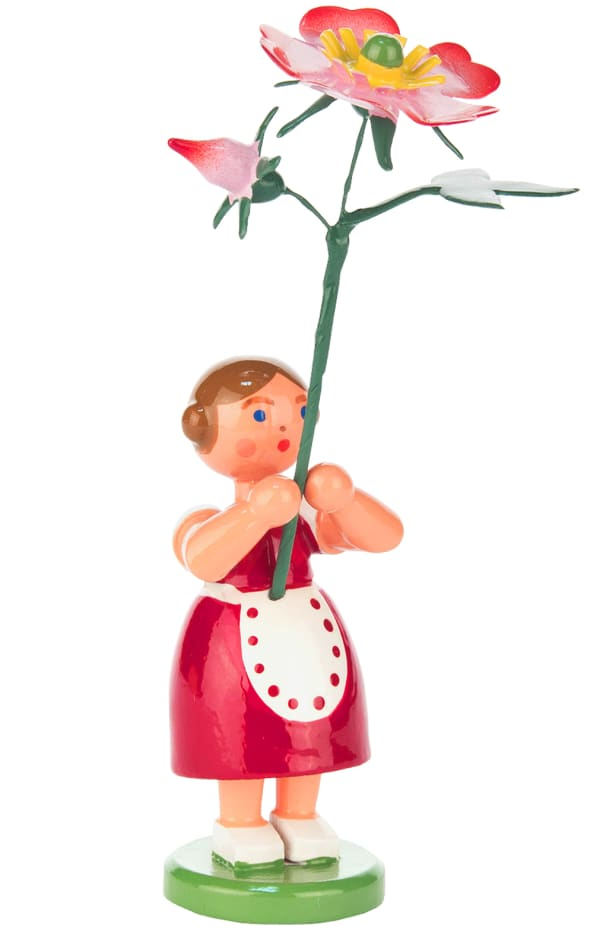 Dregeno Red Flower Girl Easter Figurine