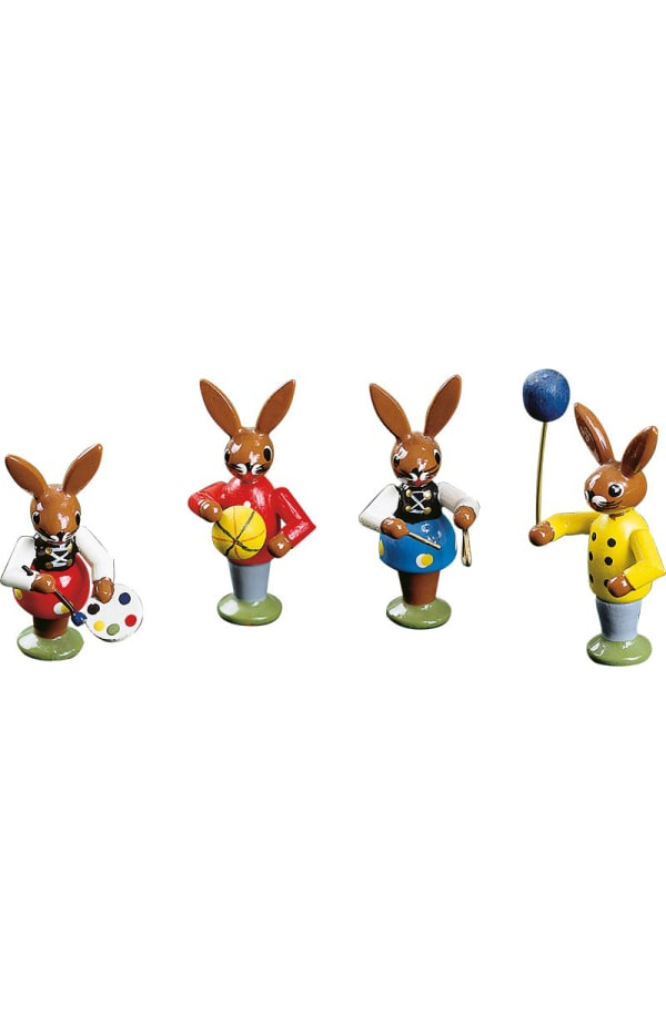 Richard Glaesser Bunny Children Playing Set of 4 Easter Figures