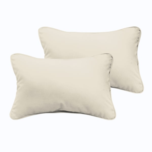 Corded Set of 2 XL Ivory Lumbar Pillows
