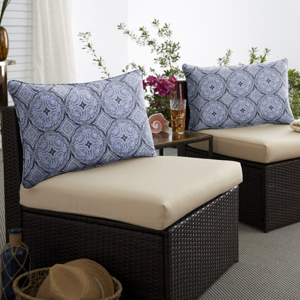 Corded Set of 2 XL Blue Lumbar Pillows