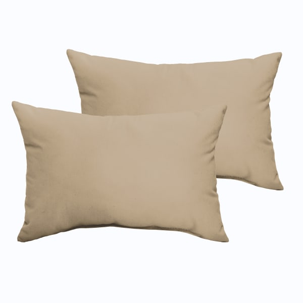Corded Set of 2 Beige Lumbar Pillows