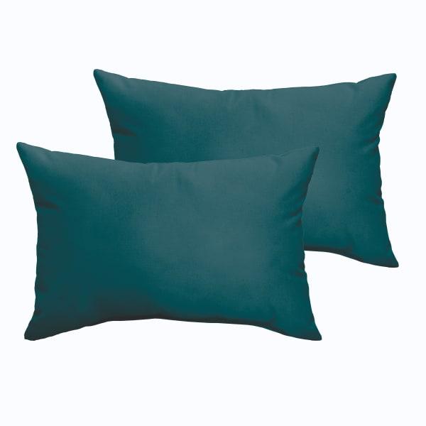 Corded Set of 2 Teal Lumbar Pillows