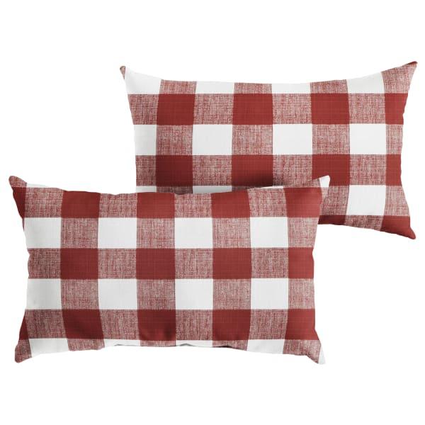 Corded Set of 2 XL Red Buffalo Plaid Lumbar Pillows