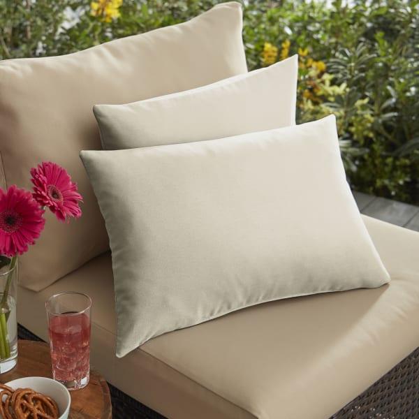 Corded Set of 2 Ivory Lumbar Pillows