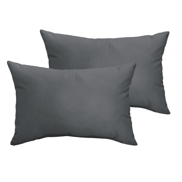 Corded Set of 2 Charcoal Grey Lumbar Pillows