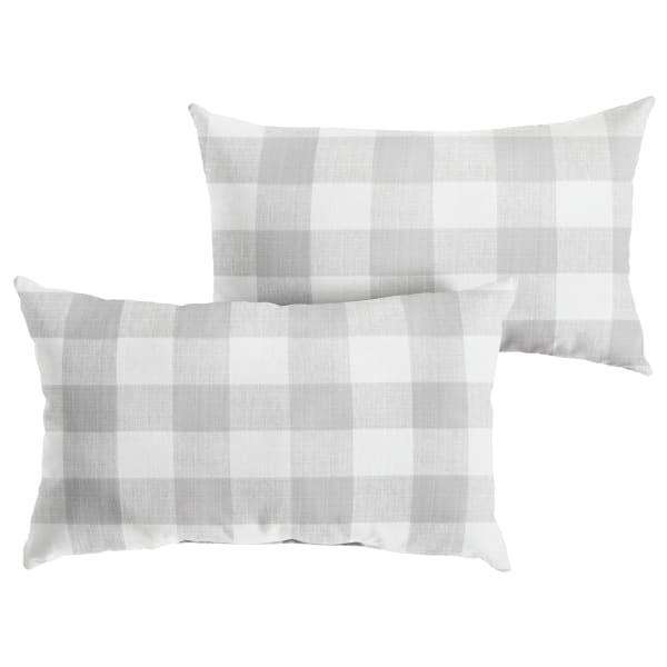 Corded Set of 2 XL Grey Buffalo Plaid Lumbar Pillows