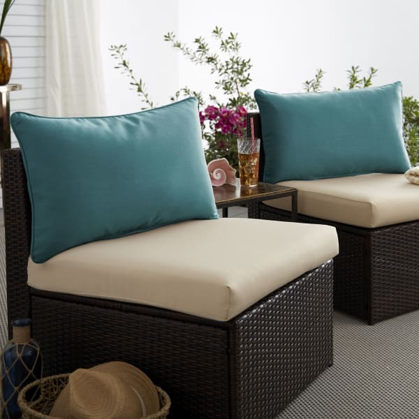 Corded Set of 2 XL Teal Lumbar Pillows