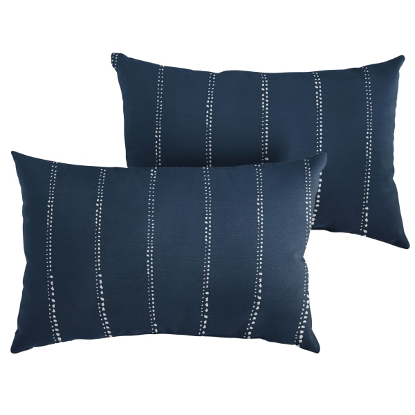 Corded Set of 2 Navy Dotted Stripes Lumbar Pillows