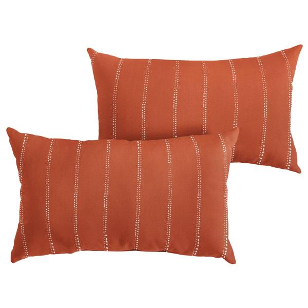 Corded Set of 2 XL Orange Dotted Stripes Lumbar Pillows