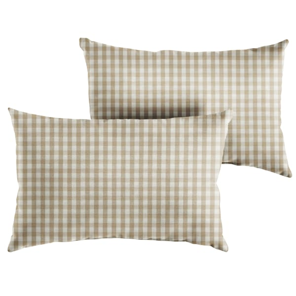 Corded Set of 2 Beige/White Check Lumbar Pillows