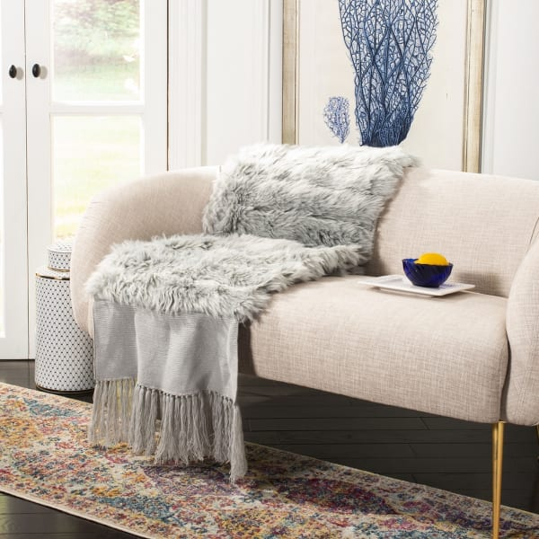 Faux Fur Alexi  Bed Runner Grey Throw