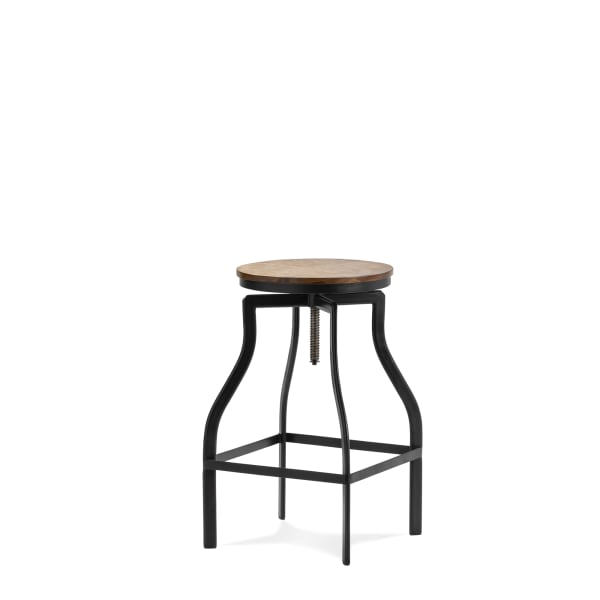 Adjustable Industrial Wood and Metal Bar Stool