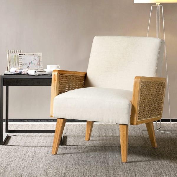 Pueblo Rattan Accent Chair In Linen