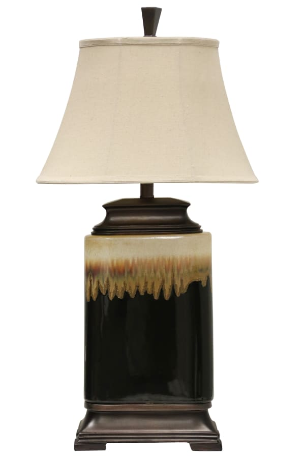Mountain Ridge Ceramic Black And White Glaze Finish Table Lamp