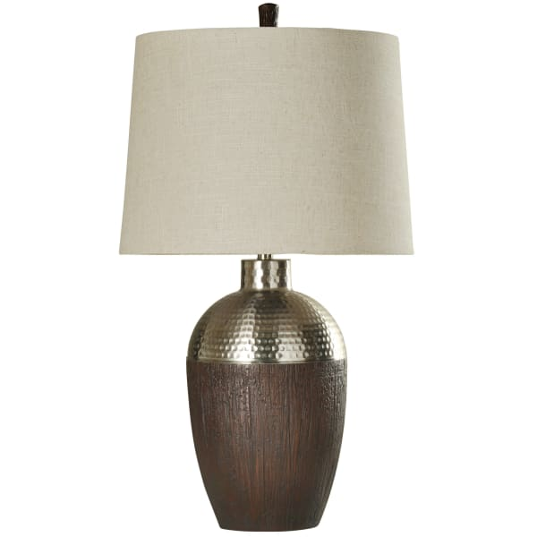 Harbin Stained Wood and Chrome Finish Table Lamp