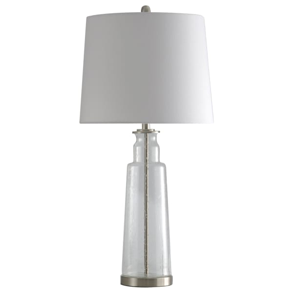 Clear Seeded With Brass Steel Finish Table Lamp