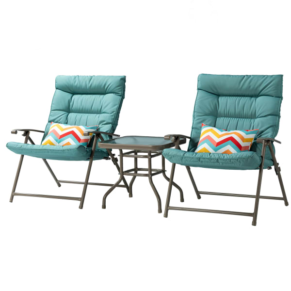 Alyce Outdoor Folding 3 Piece Patio Set