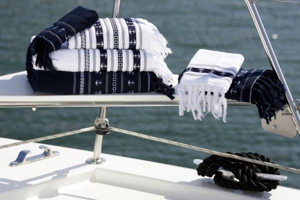 Santorini Anchors Navy Blue Towel Set