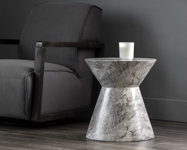 Astley Grey Marble Look End Table