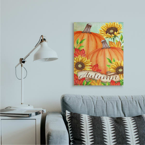 Autumn Pumpkins with Sunflowers Red Leaves Wall Art