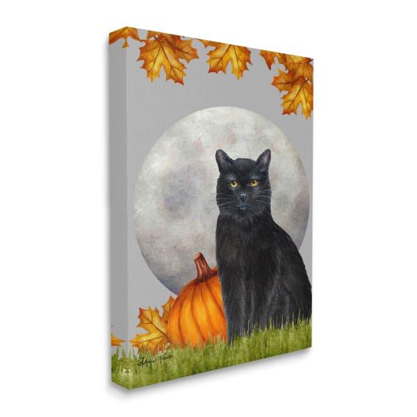 Black Cat and Full Moon Autumn Leaves Pumpkins Wall Art