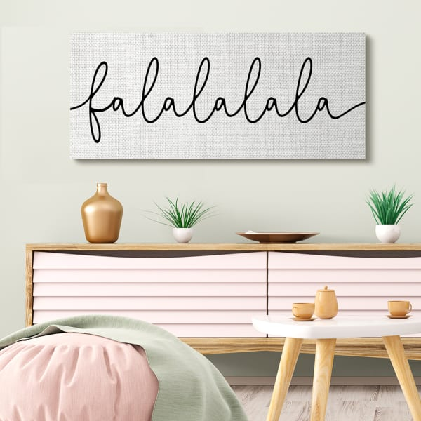 Falalalala Holiday Phrase Minimal Black White Text Wall Art
