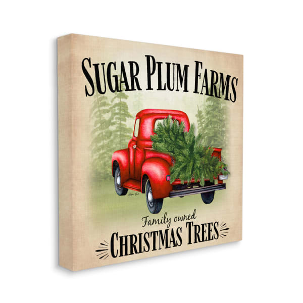 Holiday Red Truck Sugar Plum Farms Sign Wall Art