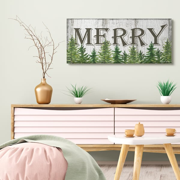 Merry Text Rustic Winter Forest Pine Trees Wall Art