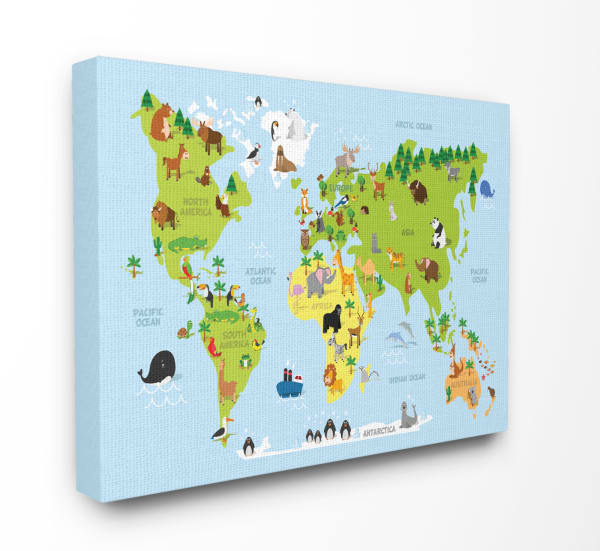 Kids World Map Wall Art
