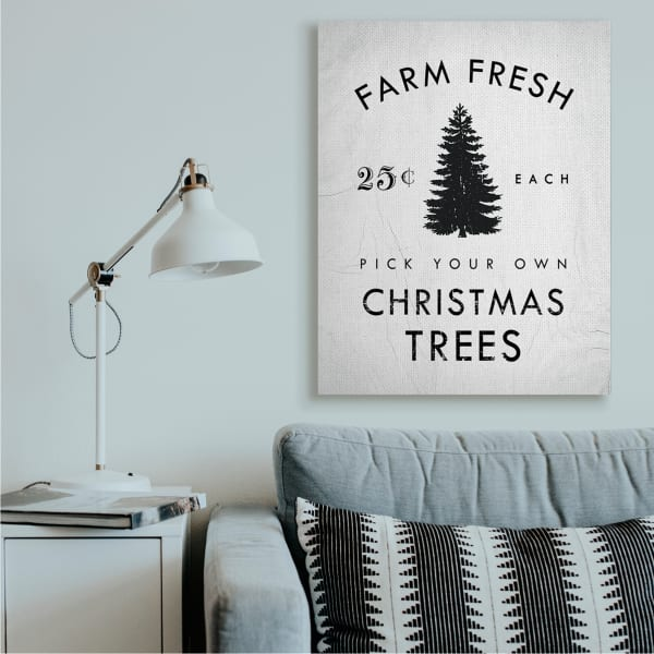 Vintage Style Christmas Tree Farm Sign Minimal Wall Art