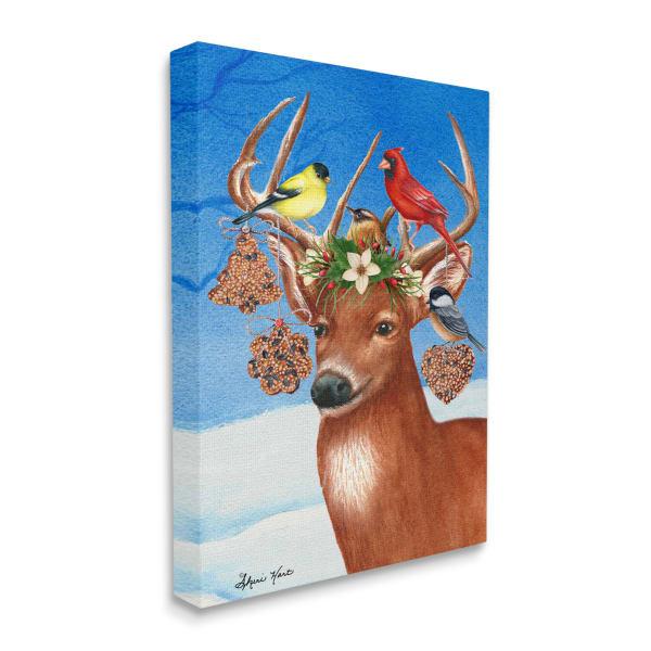 Winter Reindeer Antler Ornaments with Birds Wall Art