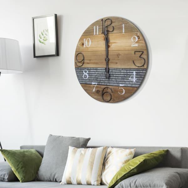 Oversized Wood & Metal Farmhouse Wall Clock