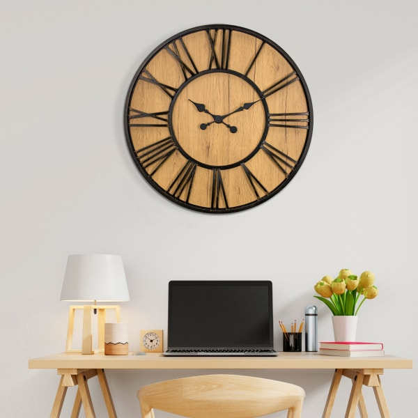 Oversized Wall Clock - Black/Wood Veneer
