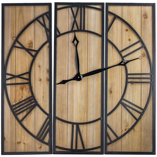 Oversized Wood And Metal 3 Piece Wall Clock Pier 1