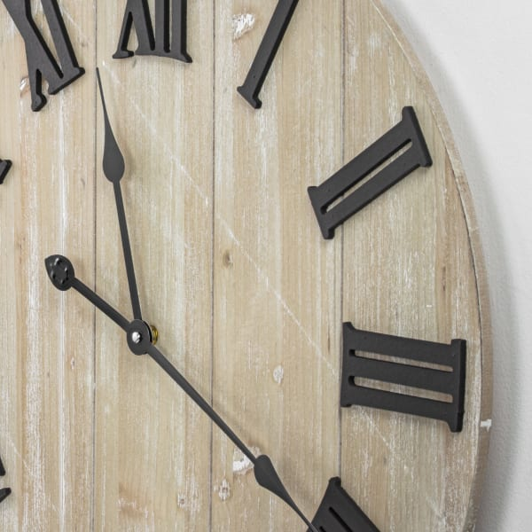Whitewashed Wood Rustic Oversized Wall Clock