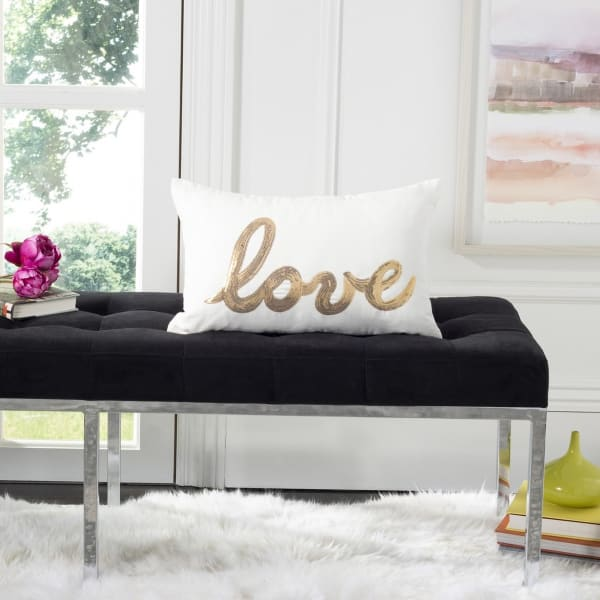 First Comes Love Gold Pillow