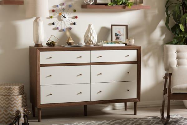 Edgar White and Walnut Wood 6 drawers Storage Dresser