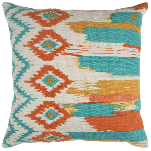 Stripe Cotton Orange/Teal Pillow Cover