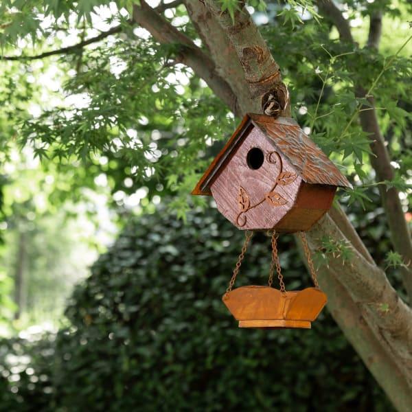 Distressed Solid Wood Birdhouse with Bird Bath