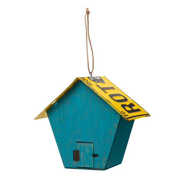 Wood and Metal Light Blue Licence Plates Birdhouse