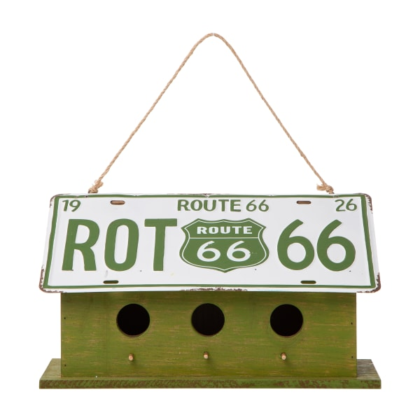 Wood and Metal Green  License Plates Birdhouse