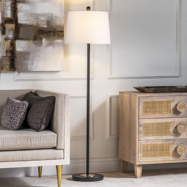 Zenovia Black Slimline Floor Lamp