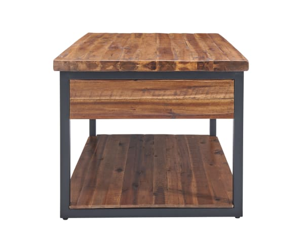 Claremont Rustic Wood Coffee Table with Low Shelf