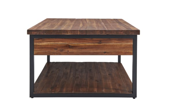 Claremont Rustic Wood Coffee Table with Drawer and Low Shelf