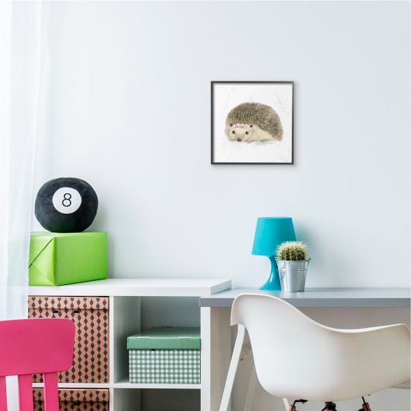 Cute Floral Crown Hedgehog Nursery Woodland Animal Black Framed Wall Art