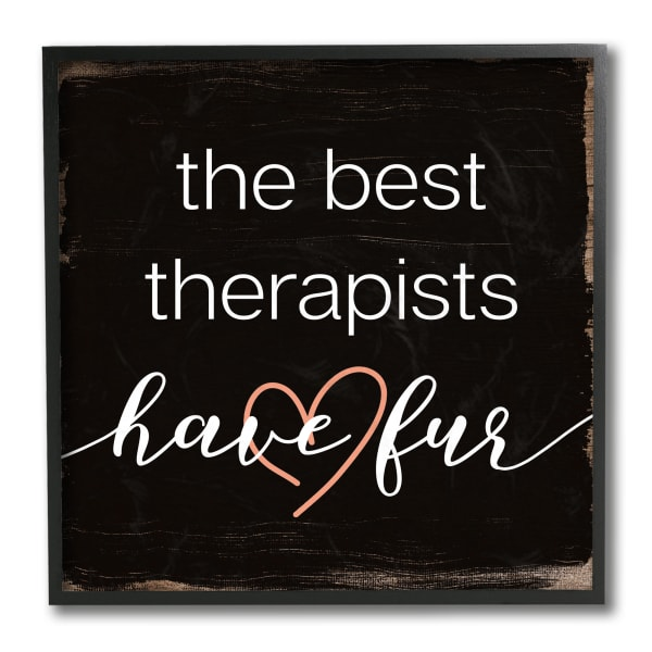 Best Therapists Have Fur Phrase Rustic Home Pet Black Framed Wall Art